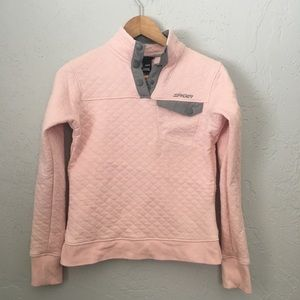Spyder Pink Pullover Quilted Sweatshirt Small